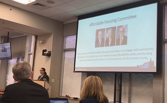 Buncombe County Strategic Partnerships Director Rachael Nygaard leading the March 19 meeting of the county's new Affordable Housing Committee.