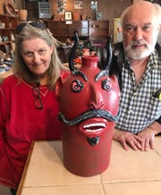 One of Brown's Pottery's specialties is face jugs, including devil face jugs, a traditional Southern folk art form. Jeanette and Charlie Brown will close their Arden location at the end of March. The family-owned business, now in its 11th generation, will reopen in Pisgah Forest later this spring.
