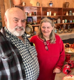 Charlie and Jeanette Brown have run Brown's Pottery together for decades. Charlie and his sons make much of the pottery, while Jeanette handles the glazing. The Arden store will close March 31, but the Browns will reopen in Pisgah Forest later this spring.