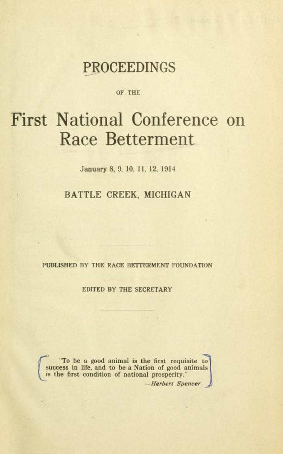 Title page from the Proceedings of the First National Conference on Race Betterment.