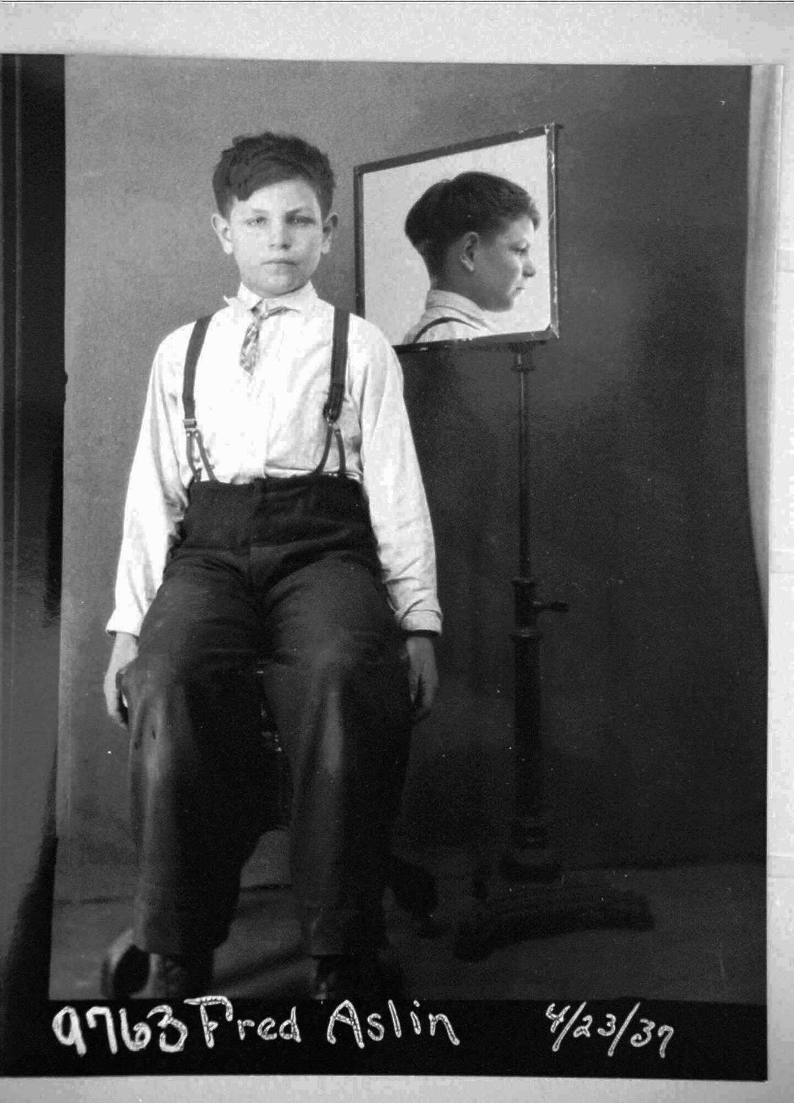 Fred Aslin, shown in an April 23, 1937 file photo during his time at Lapeer State School in Michigan, was placed in the old-fashiond mental institution after his father died and was taken from his mother's custody. When he turned 18 years old Aslin was sterilized. Aslin sued the state of Michigan in 2000 but the case was dismissed due to the statue of limitations. He died at his home in Charlotte in 2014.