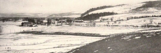 A typical farm landscape in Broome County, about 1912.