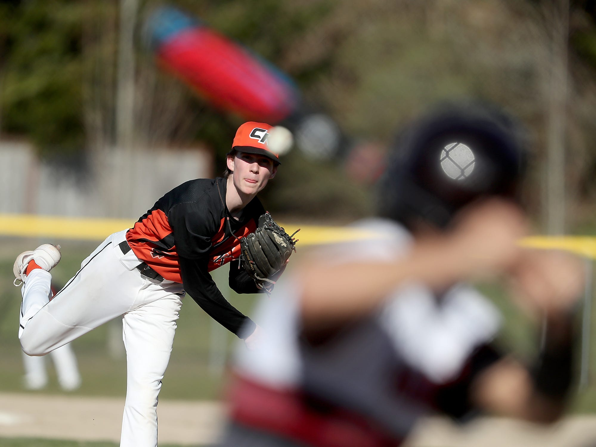 Central Kitsap's Chandler Lindstrom pitches against Yelm on Tuesday, March 19, 2019.