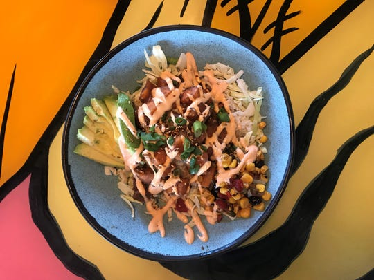 The vegan Sweet Potato Poke Bowl at 4th Street Fillin Station is flavorful and satisfying.