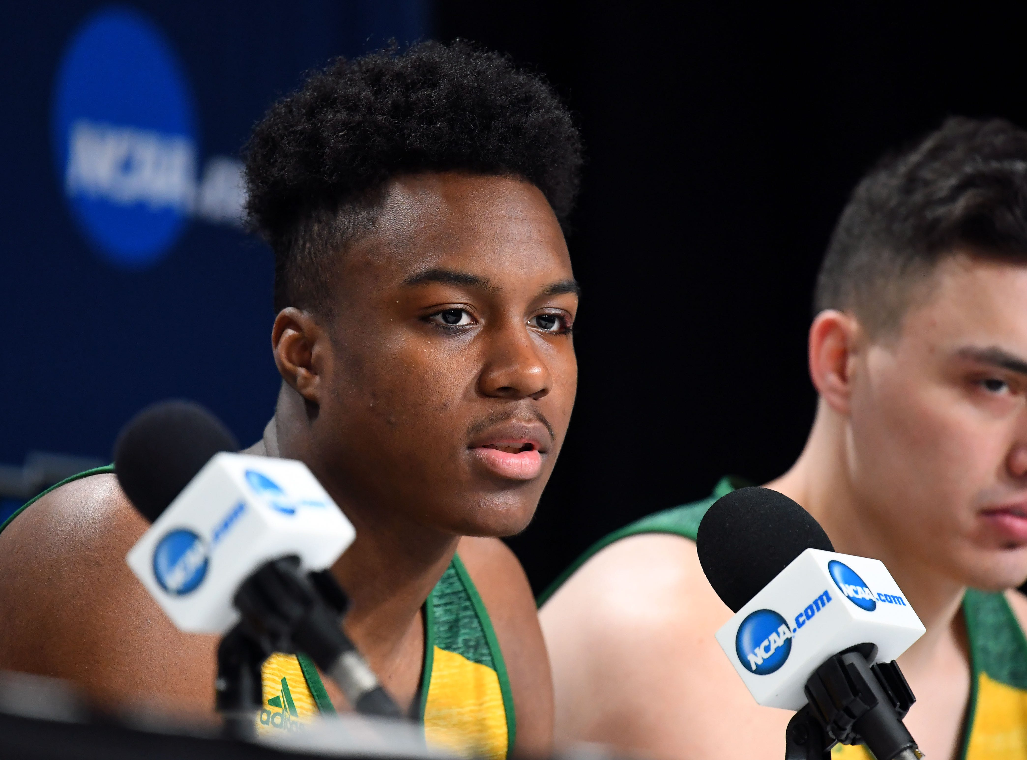 Mar 20, 2019; Hartford, CT, USA; Vermont Catamounts guard Stef Smith (0) speaks with the media before a practice in he first round of the 2019 NCAA Tournament at XL Center. Mandatory Credit: Robert Deutsch-USA TODAY Sports