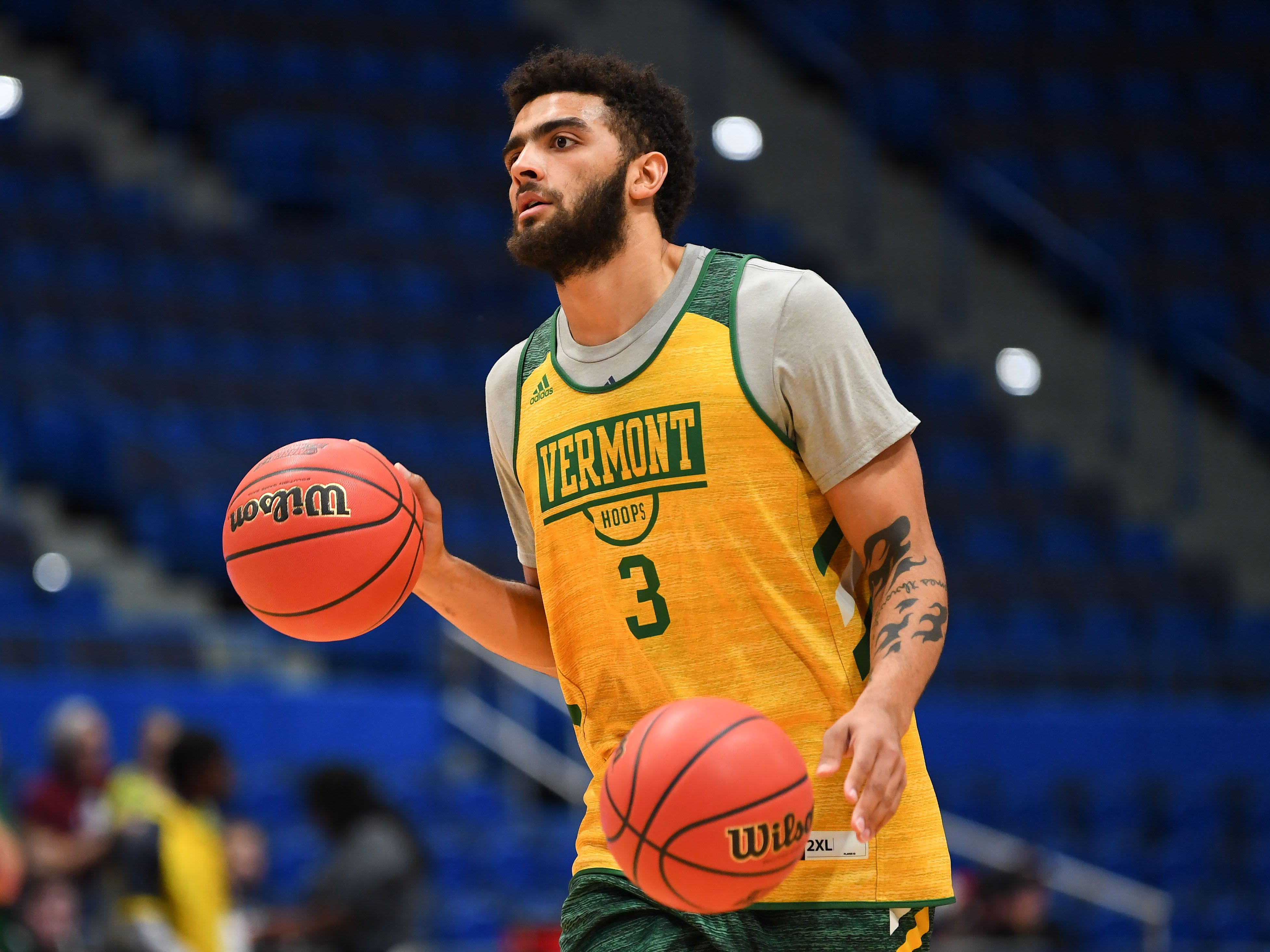 Mar 20, 2019; Hartford, CT, USA; Vermont Catamounts forward Anthony Lamb (3) dribbles during practice before the first round of the 2019 NCAA Tournament at XL Center. Mandatory Credit: Robert Deutsch-USA TODAY Sports