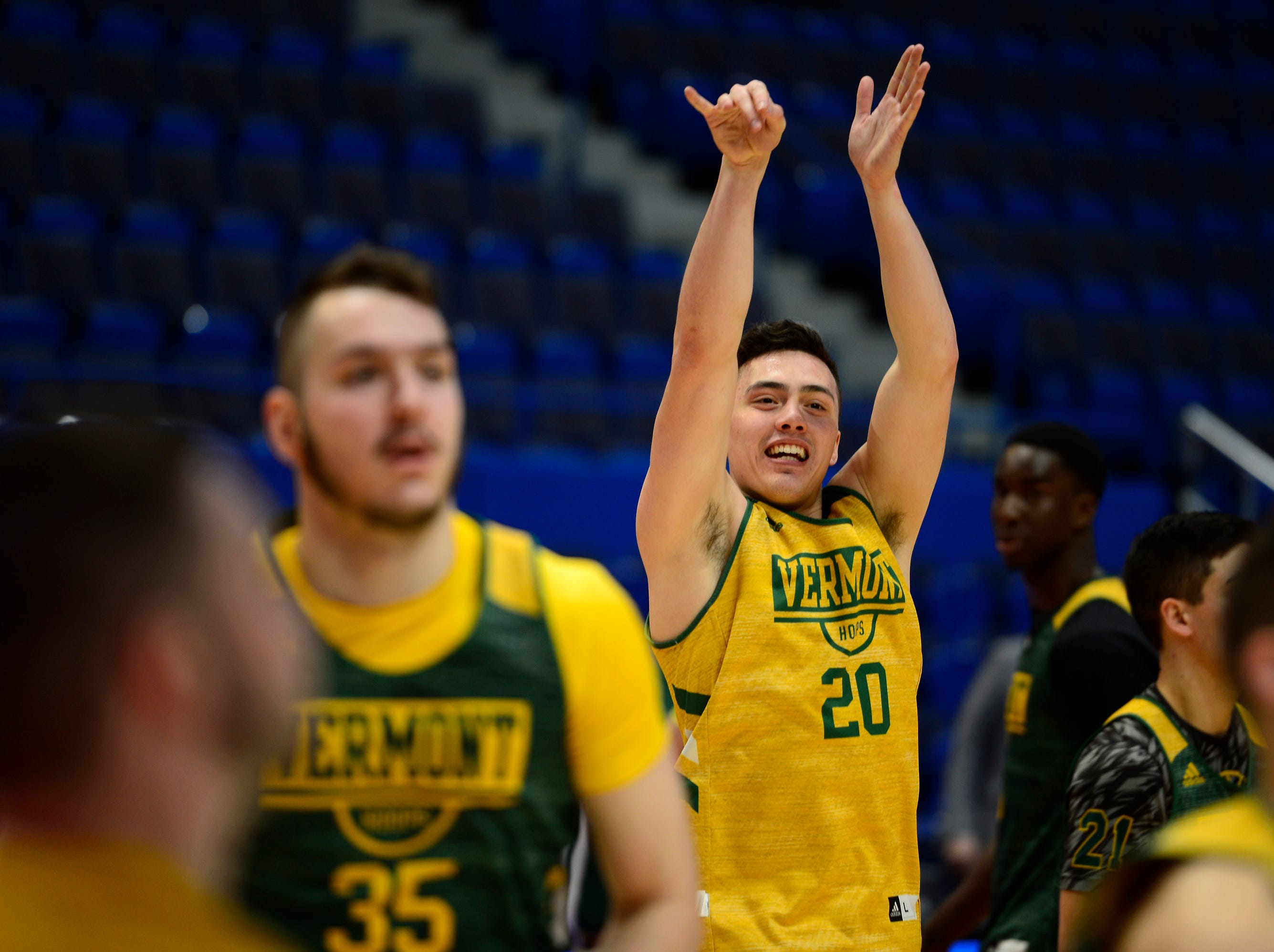 UVM guard Ernie Duncan elevates for a jump shot during practice at the XL Center on Wednesday ahead of the Catamounts' NCAA tournament game in Hartford, Connecticut.