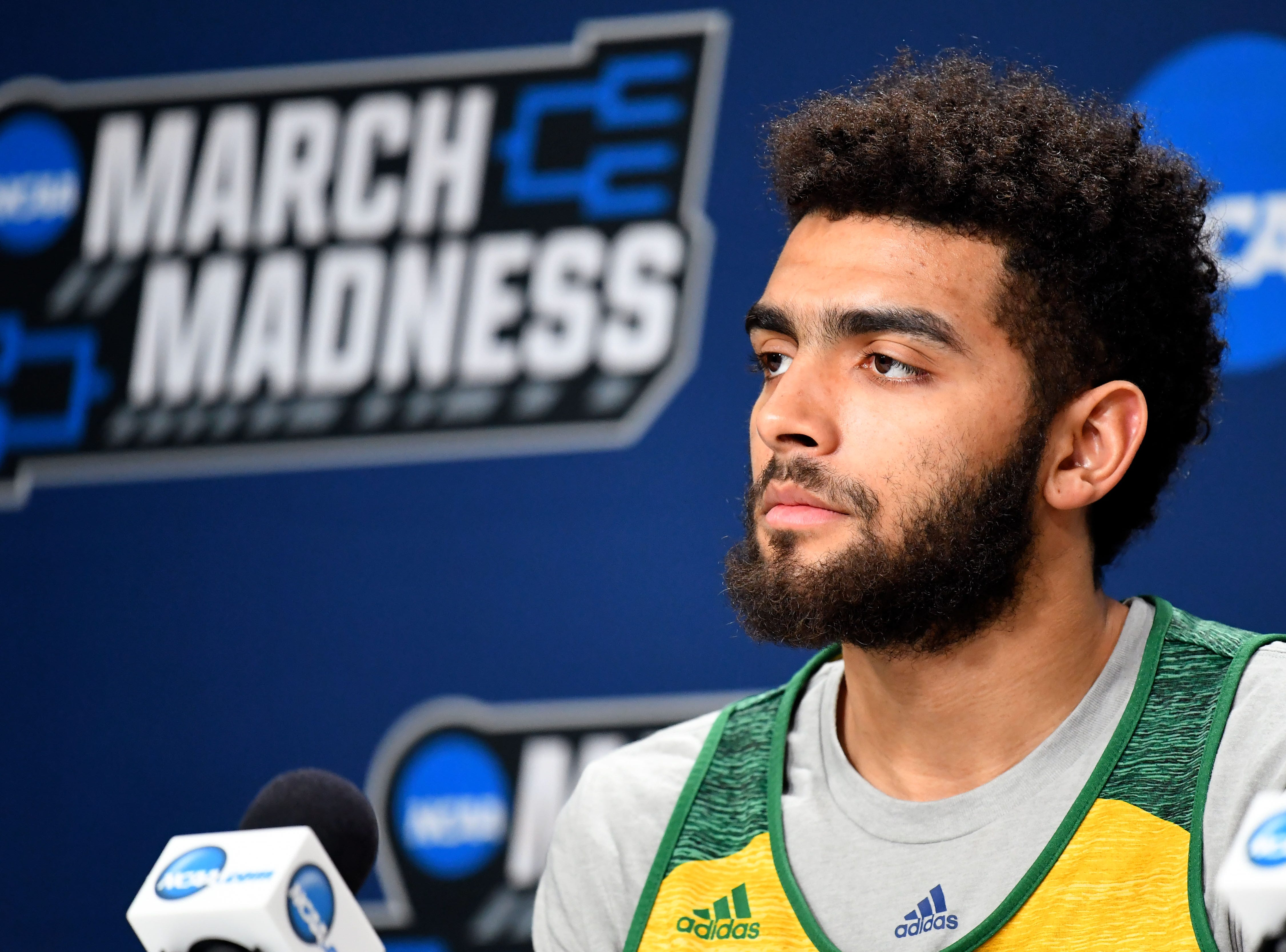 Mar 20, 2019; Hartford, CT, USA; Vermont Catamounts forward Anthony Lamb (3) speaks with the media before a practice in the first round of the 2019 NCAA Tournament at XL Center. Mandatory Credit: Robert Deutsch-USA TODAY Sports