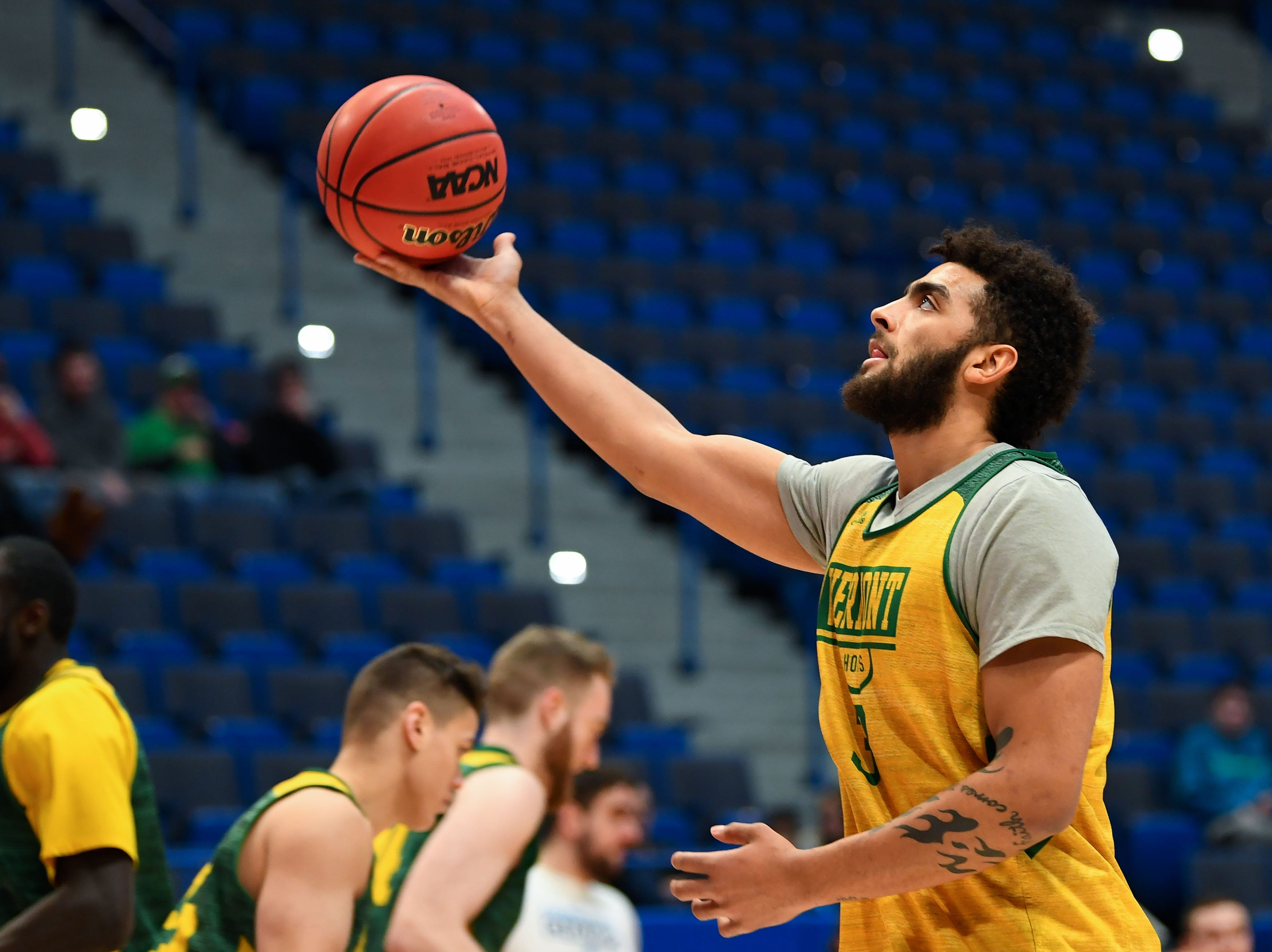Mar 20, 2019; Hartford, CT, USA; Vermont Catamounts forward Anthony Lamb (3) attempts a layup during practice before the first round of the 2019 NCAA Tournament at XL Center. Mandatory Credit: Robert Deutsch-USA TODAY Sports