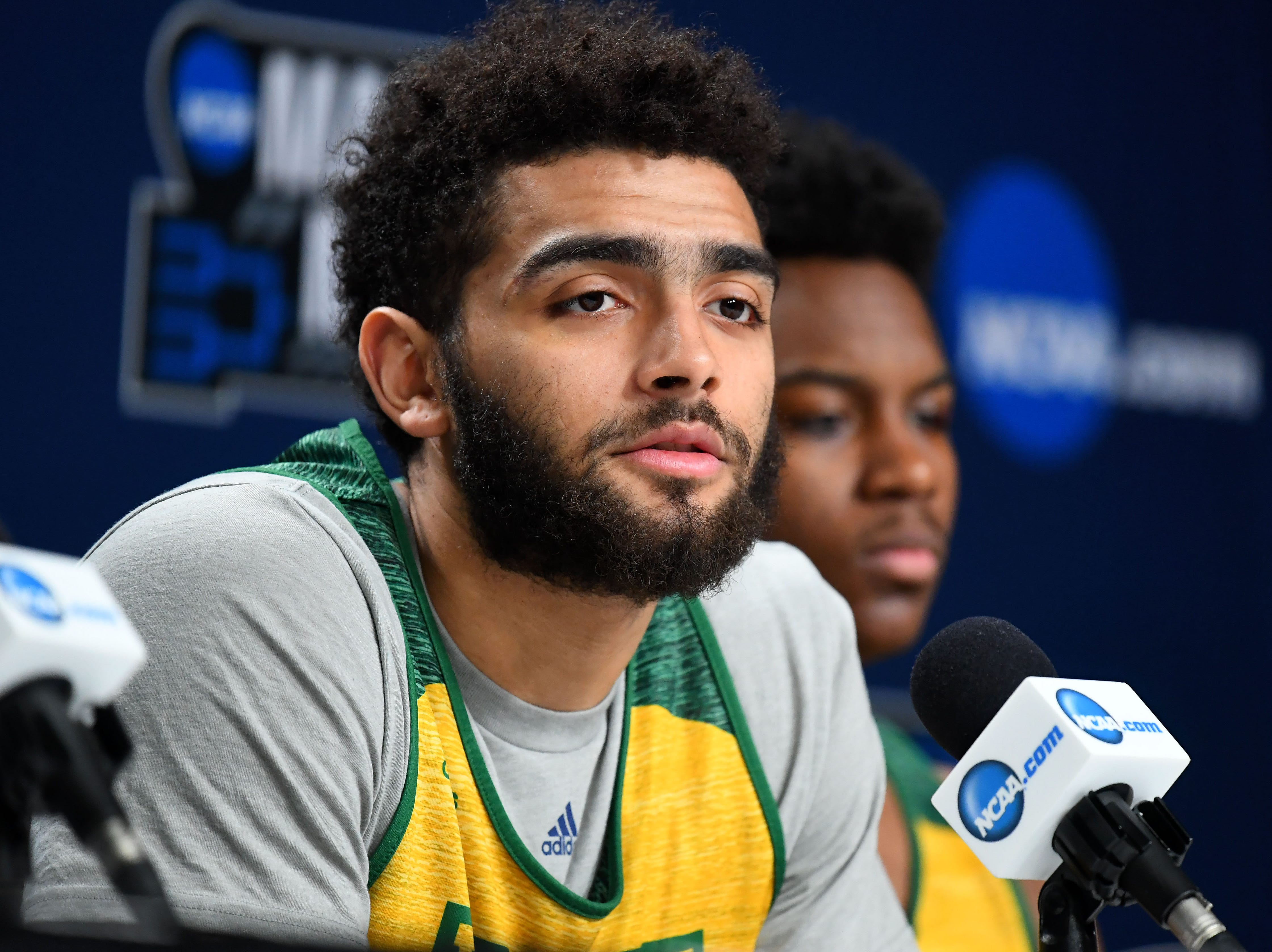 Mar 20, 2019; Hartford, CT, USA; Vermont Catamounts forward Anthony Lamb (3) speaks with media before a  practice in the first round of the 2019 NCAA Tournament at XL Center. Mandatory Credit: Robert Deutsch-USA TODAY Sports
