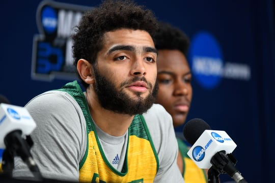Anthony Lamb speaks with media during the NCAA Tournament in Hartford, Connecticut on March 20.