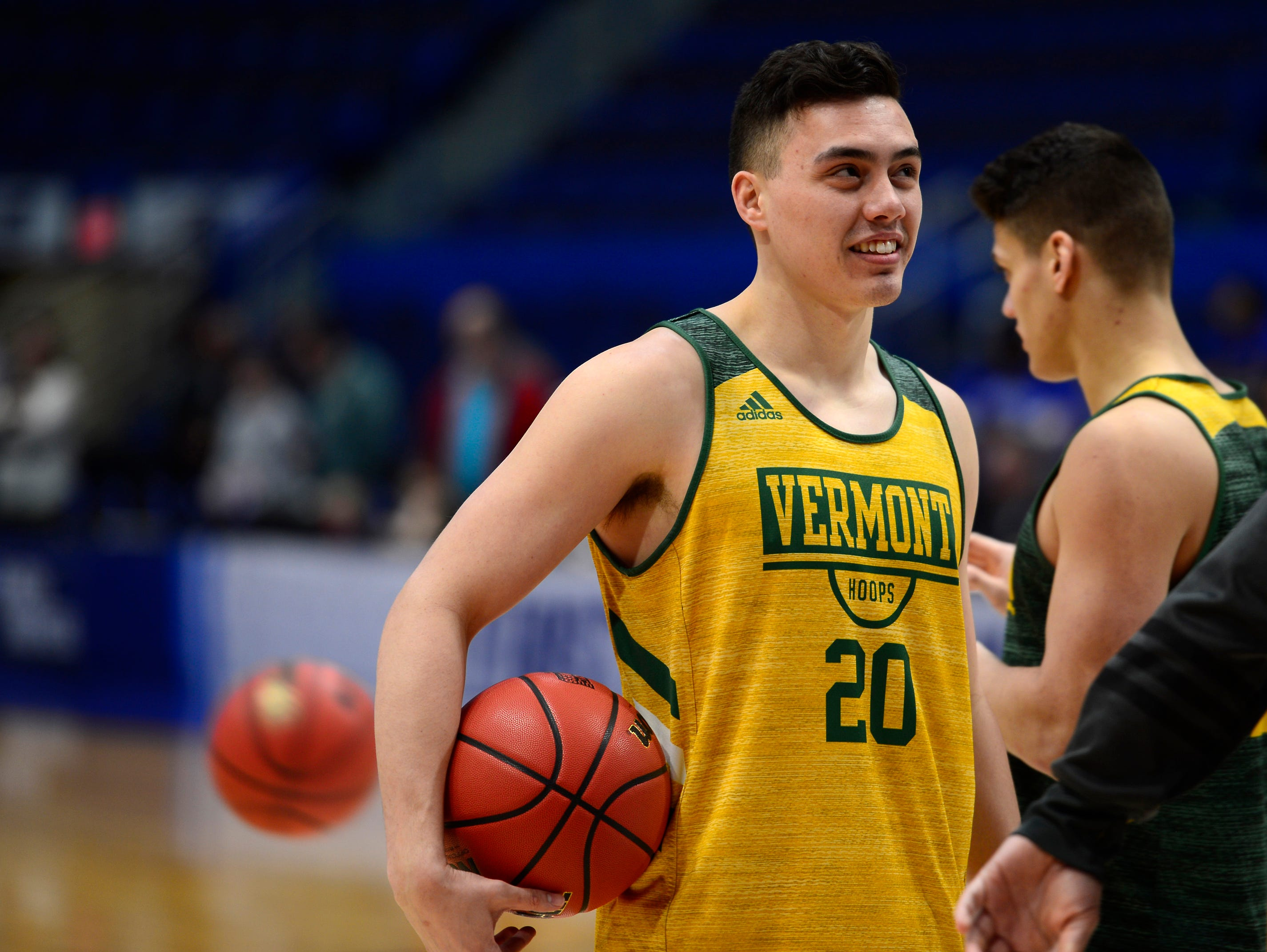 Vermont's Ernie Duncan reacts to something at Wednesday's NCAA tournament practice at the XL Center in Hartford, Connecticut.