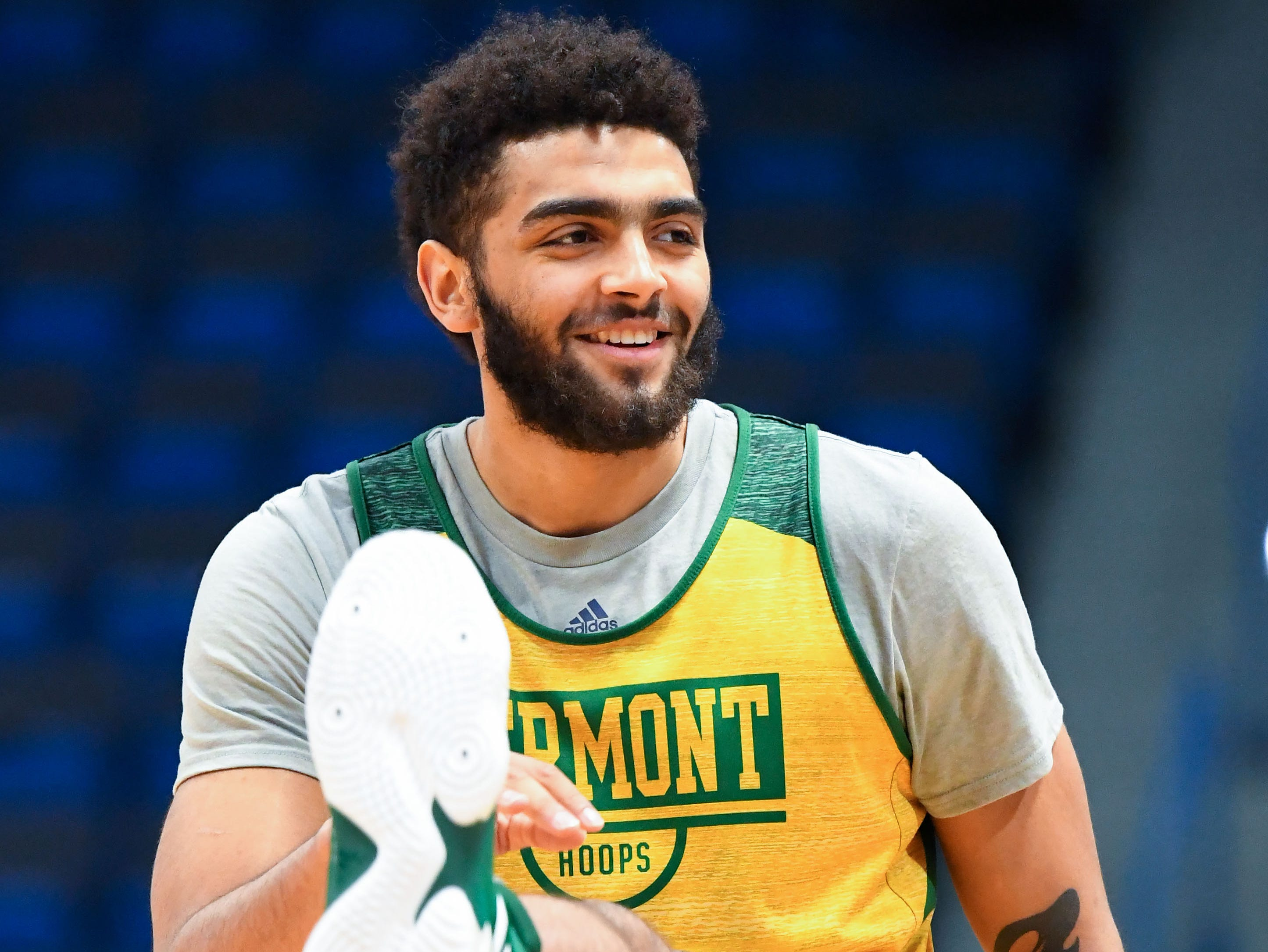Mar 20, 2019; Hartford, CT, USA; Vermont Catamounts forward Anthony Lamb (3) stretches during practice before the first round of the 2019 NCAA Tournament at XL Center. Mandatory Credit: Robert Deutsch-USA TODAY Sports