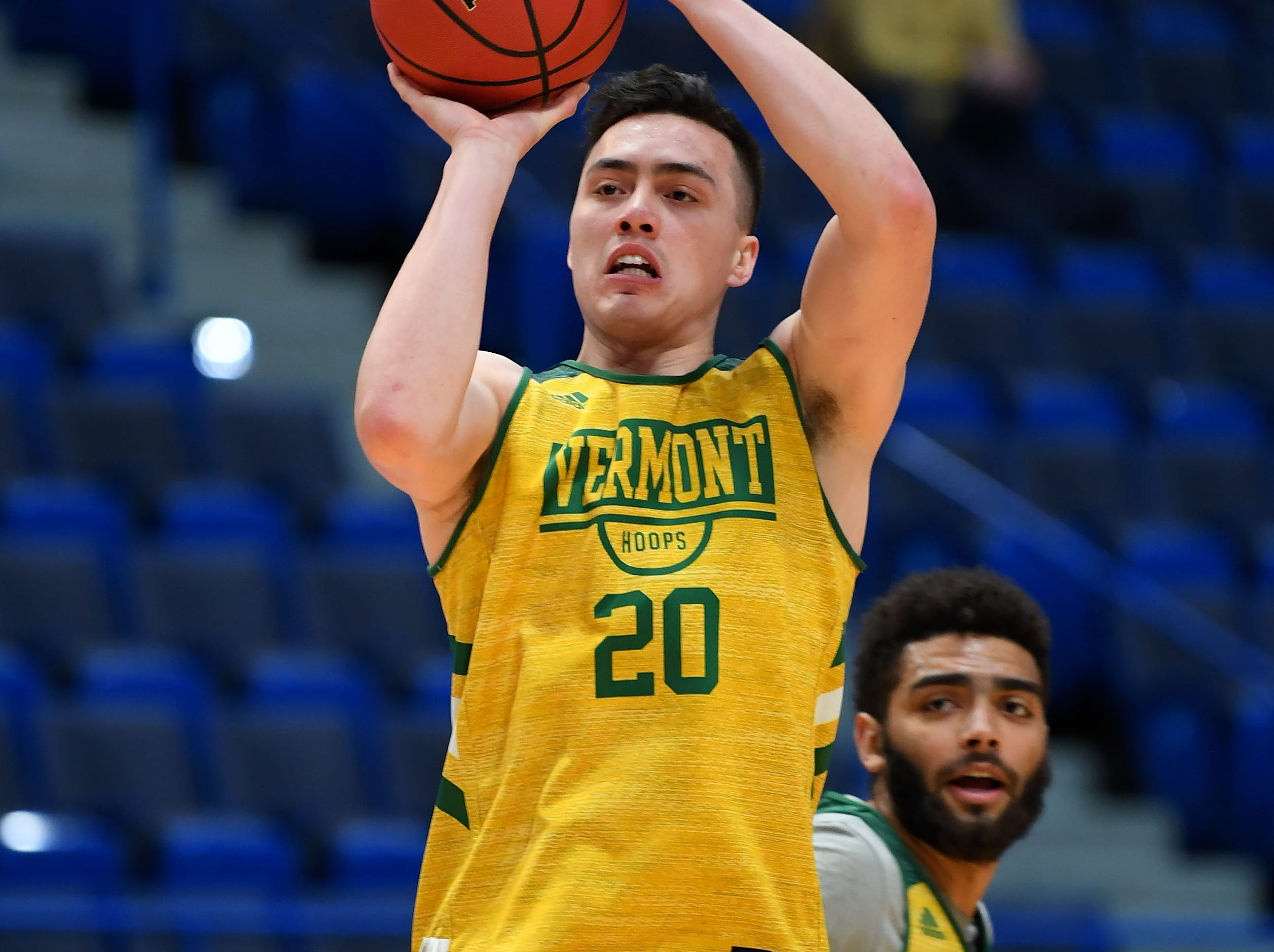 Mar 20, 2019; Hartford, CT, USA; Vermont Catamounts guard Ernie Duncan (20) attempts a shot during practice before the first round of the 2019 NCAA Tournament at XL Center. Mandatory Credit: Robert Deutsch-USA TODAY Sports