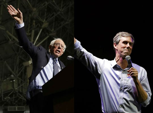 Democratic presidential candidates Sen. Bernie Sanders, I-Vt., left, and former Rep. Beto O'Rourke of Texas.