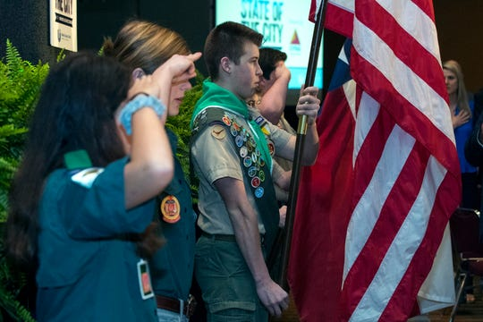 Scouts from the Boy Scouts of America, South Texas Council present the colors during the State of the City at the American Bank Center on Wednesday, March 20, 2019.
