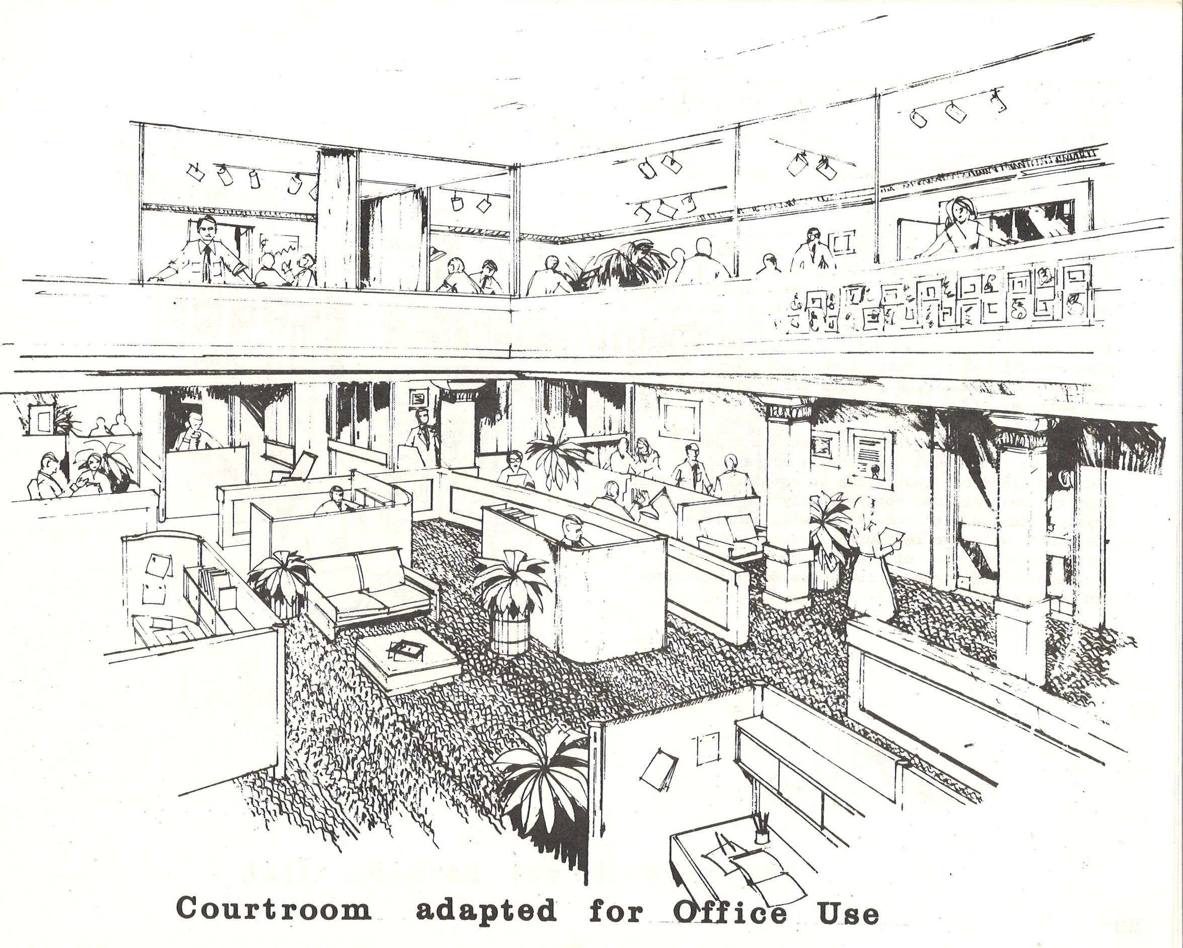 A 1980 plan funded by Charles Bennett and created by Anderson Notter Finegold Inc. included turning the courtrooms in the 1914 Nueces County Courthouse into office and meeting spaces.