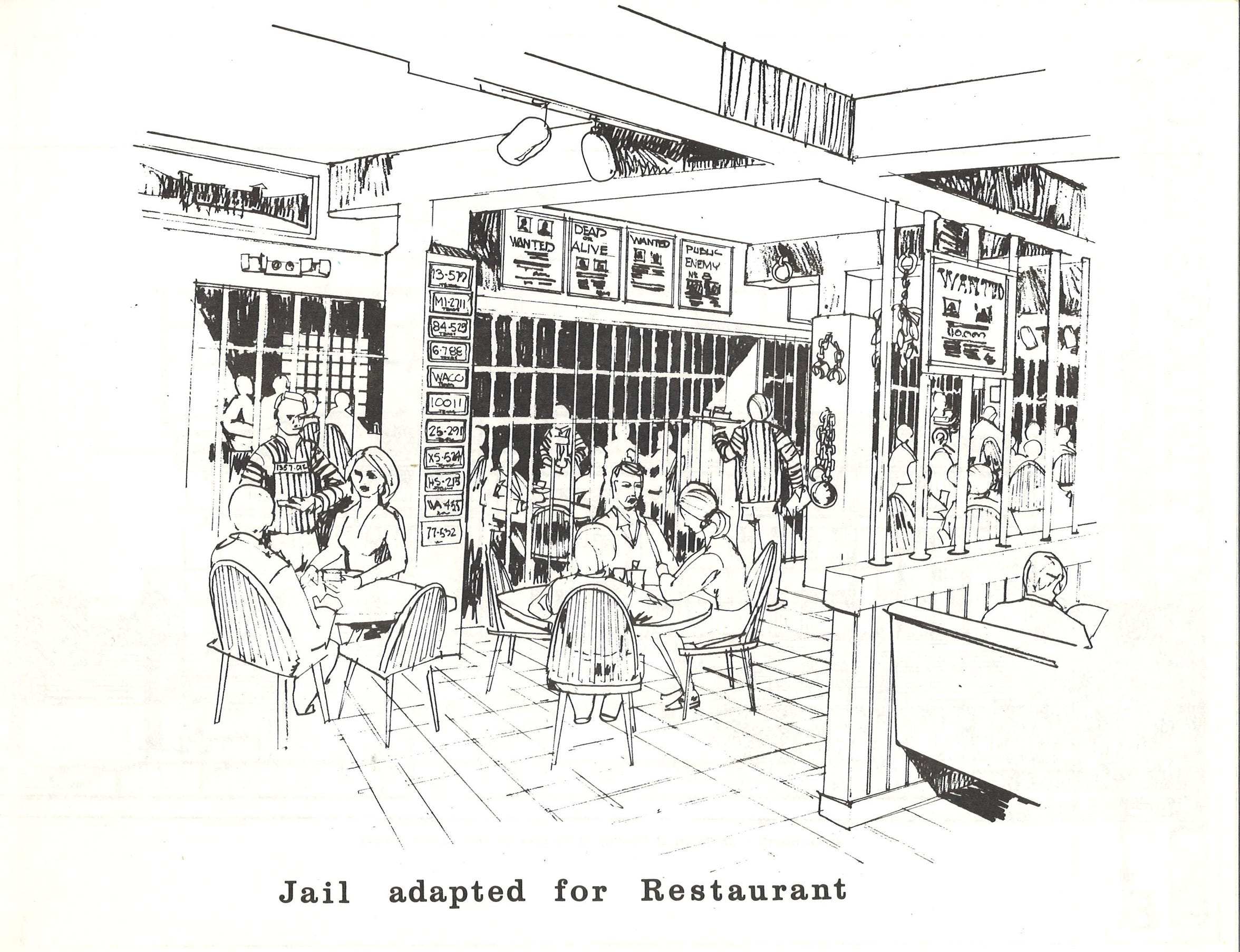 """This was the plan for the old jail area in the 1914 Nueces County Courthouse in a 1980 proposal funded by Charles Bennett. The restaurant would have had a jail theme. Note the manacles and """"Wanted"""" posters on the wall."""