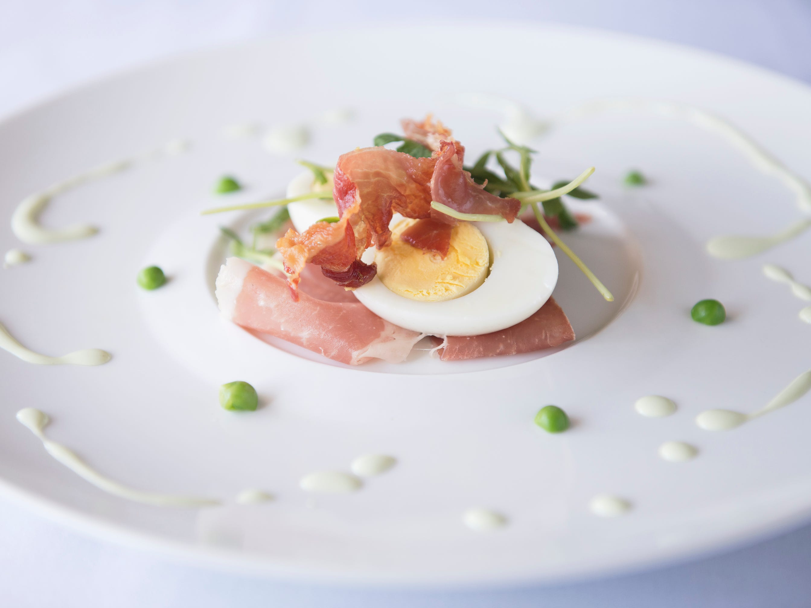 """Ham and Eggs"", prosciutto, deviled egg, and English peas, is a second course option on the SJ Hot Chefs' Spring Restaurant Week menu of Braddock's in Medford."