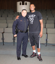 """Lt. Scott Collins, an Inglewood (California) police lieutenant (left), and NBA great Paul Pierce are shown during the filming of a documentary called """"Inglewood Morning Sessions"""". Collins utilized his early morning basketball camp to mentor youth in Inglewood through hoops. Pierce, who won an NBA championship with the Boston Celtics, was a beneficiary. A South Jersey native and Camden Catholic grad is a producer on the film."""