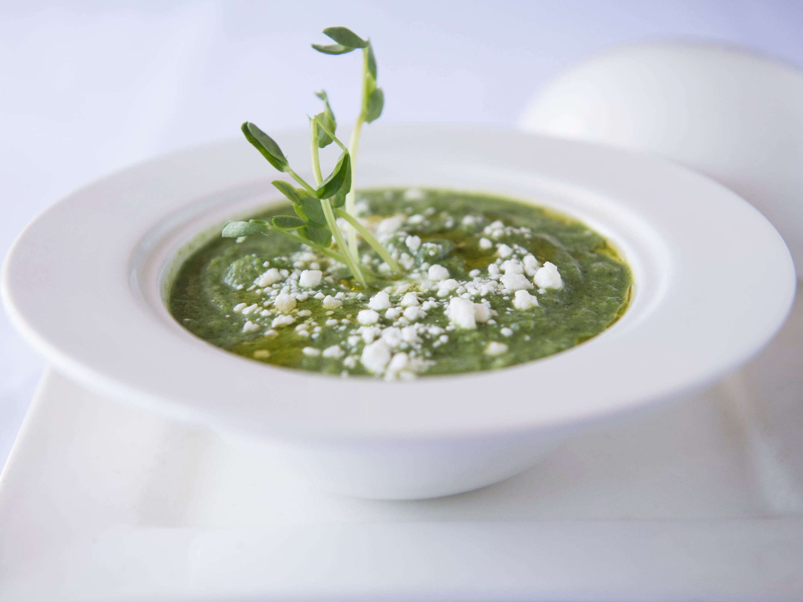 Spring onion soup with goat cheese creme fraiche is a first course option on the SJ Hot Chefs' Spring Restaurant Week menu of Braddock's in Medford.