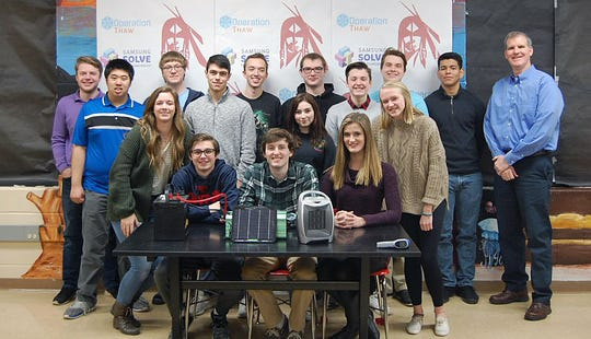 This team of Fairfield High School seniors developed a phone activated solar car defroster and are finalists in a national Samsung competition. Team includes  seniors Cheryl Appel, Bryce Behr, Ryan Brown, Jared Cusick, Ethan Crittenden, Cody Albers, Christopher Llano, Michael Ryan, Putnick, Jackie Cheng, Quedens, Biondo; and juniors Megan Barth, Haley Durbin, and Jack Cowan and teacher Kurt Etters.