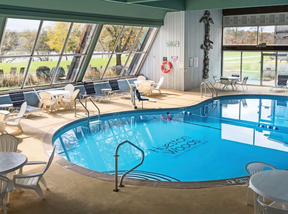 The indoor pool is open year-round in Hueston Woods Lodge.
