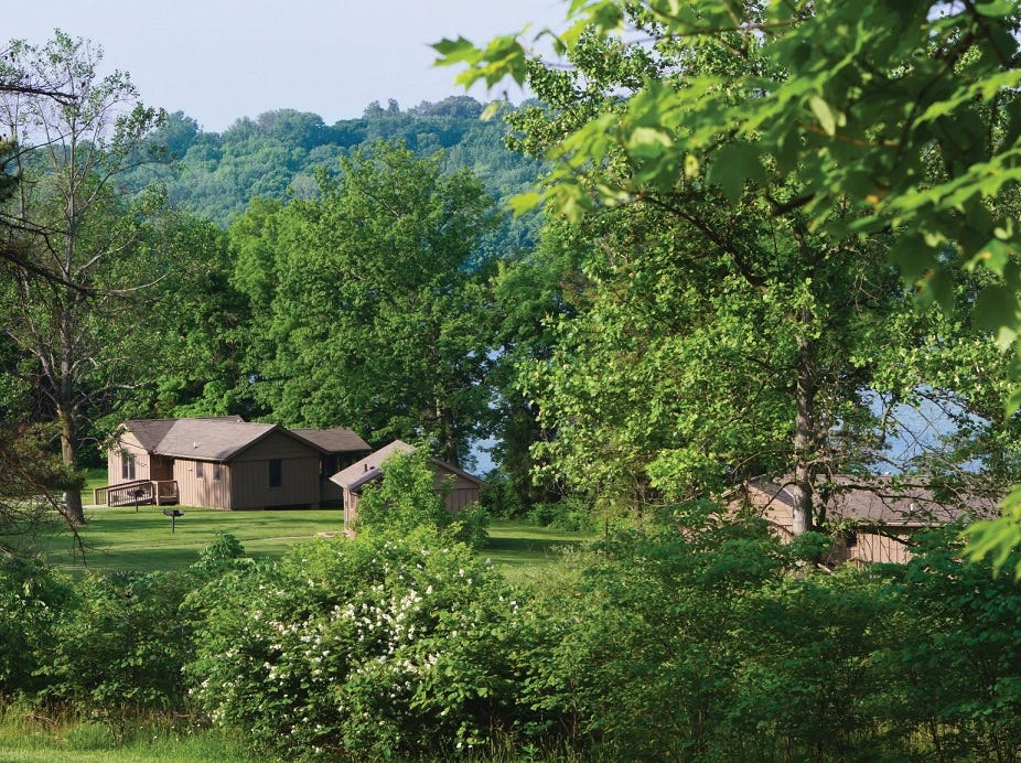 Cabins are for rent on the shores of Acton Lake in Hueston Woods State Park.