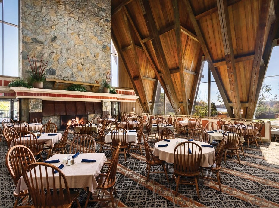 A large dining room in Hueston Woods Lodge.