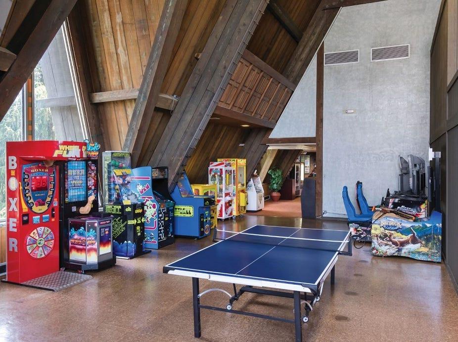 The game room in Hueston Woods Lodge.