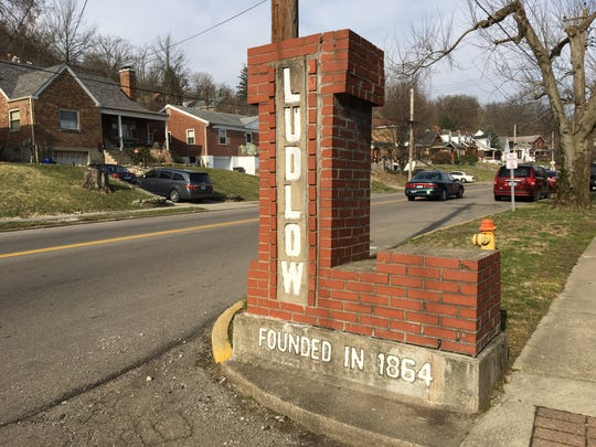 A brick welcome sign greets Ky. 8 motorists at the Covington border to the City of Ludlow in Kenton County, Kentucky.