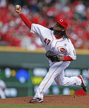 Former Cincinnati Reds starting pitcher Johnny Cueto works the mound during the ballclub's Opening Day game against the Los Angeles Angels at Great American Ball Park on April 1, 2013.
