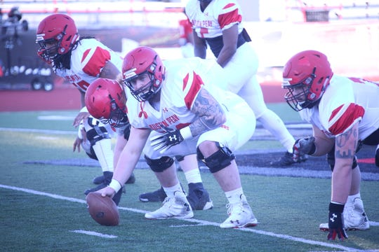 Austin Peay's offensive line sets for drills during the Govs' spring football practice Tuesday, March 19, 2019 at Fortera Stadium.