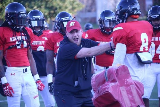 Austin Peay coaches spent the majority of Tuesday's spring practice session with position group drills at Fortera Stadium, March 19, 2019.