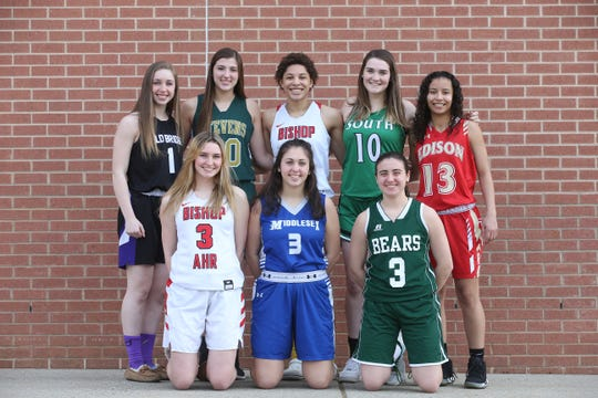 (top L-R) Rachel Kuhl of Old Bridge, Megan Duffy of J.P. Stevens, Kelsey Ransom of Bishop Ahr, MacKenzie O'Brien of South Plainfield, (bottom L-R) Emma Boslet of Bishop Ahr, Carly Santucci of Middlesex and Alyssa Bondi of East Brunswick during the Home News Tribune All Area boys and girls basketball photo shoot at East Brunswick High School in East Brunswick, NJ Tuesday, March 20, 2019.