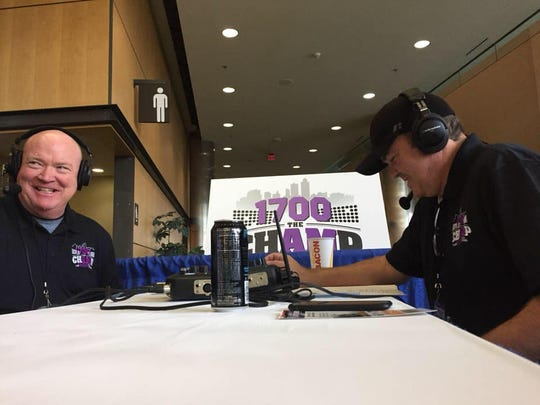 """Gantry """"Wolfgang"""" Miller, left, shown in an undated photo with his partner Gary """"Steen"""" Steenblock during his show, """"The Drive,"""" on 1700 AM """"The Champ."""" Miller, 44, was killed on Interstate Highway 80 on Tuesday, March 19, 2019."""