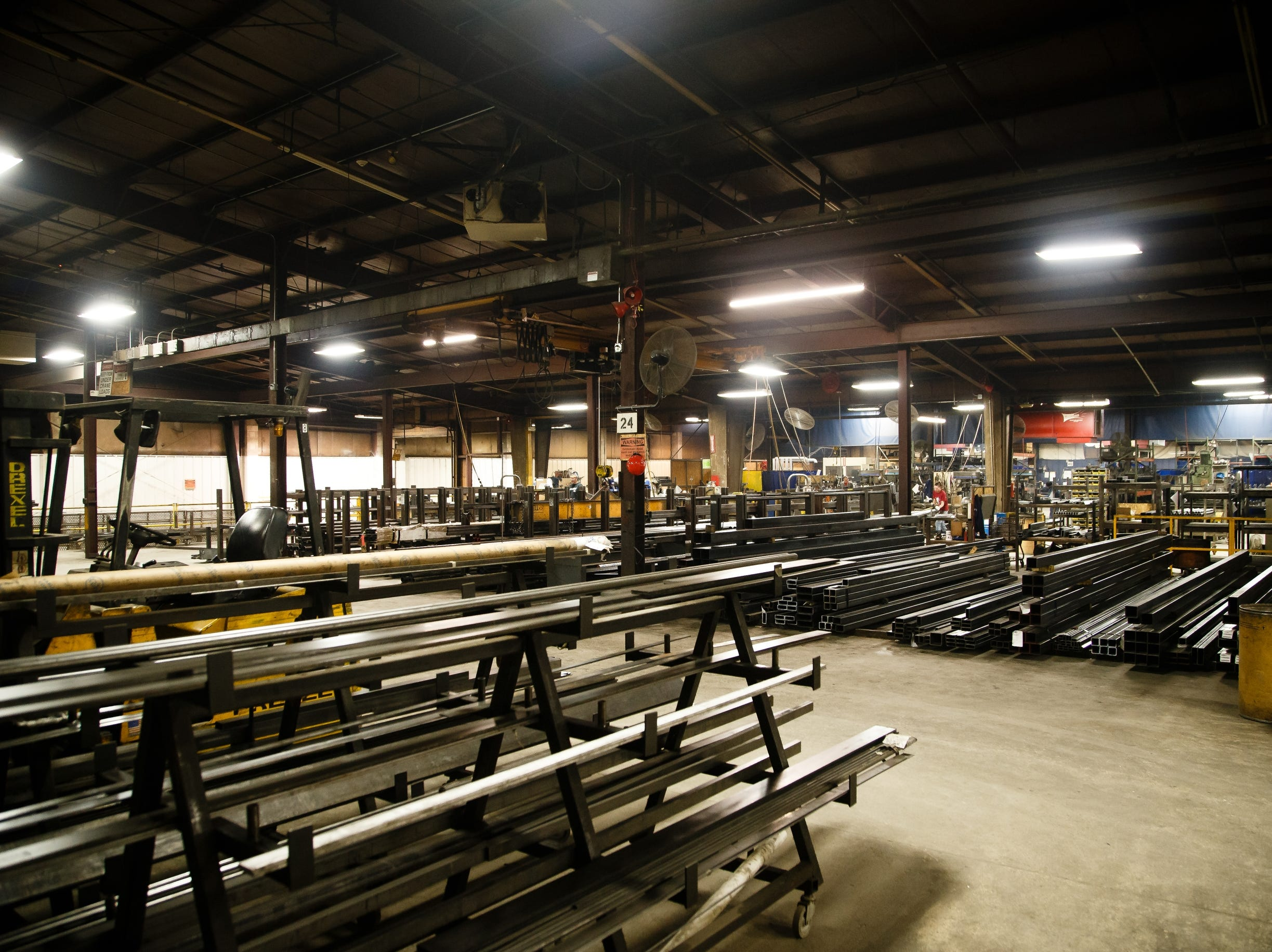 Raw metal sits ready to be turned into various models of basketball backstops and accessories at the AAI facility in Jefferson on Wednesday, March 13, 2019. AAI is the official supplier of basketball back stops for NBA, NCAA, WNBA and the NBA G-League. They make all their products, as well as a full line of gymnastics and tumbling equipment out of this factory in Jefferson where they were founded.
