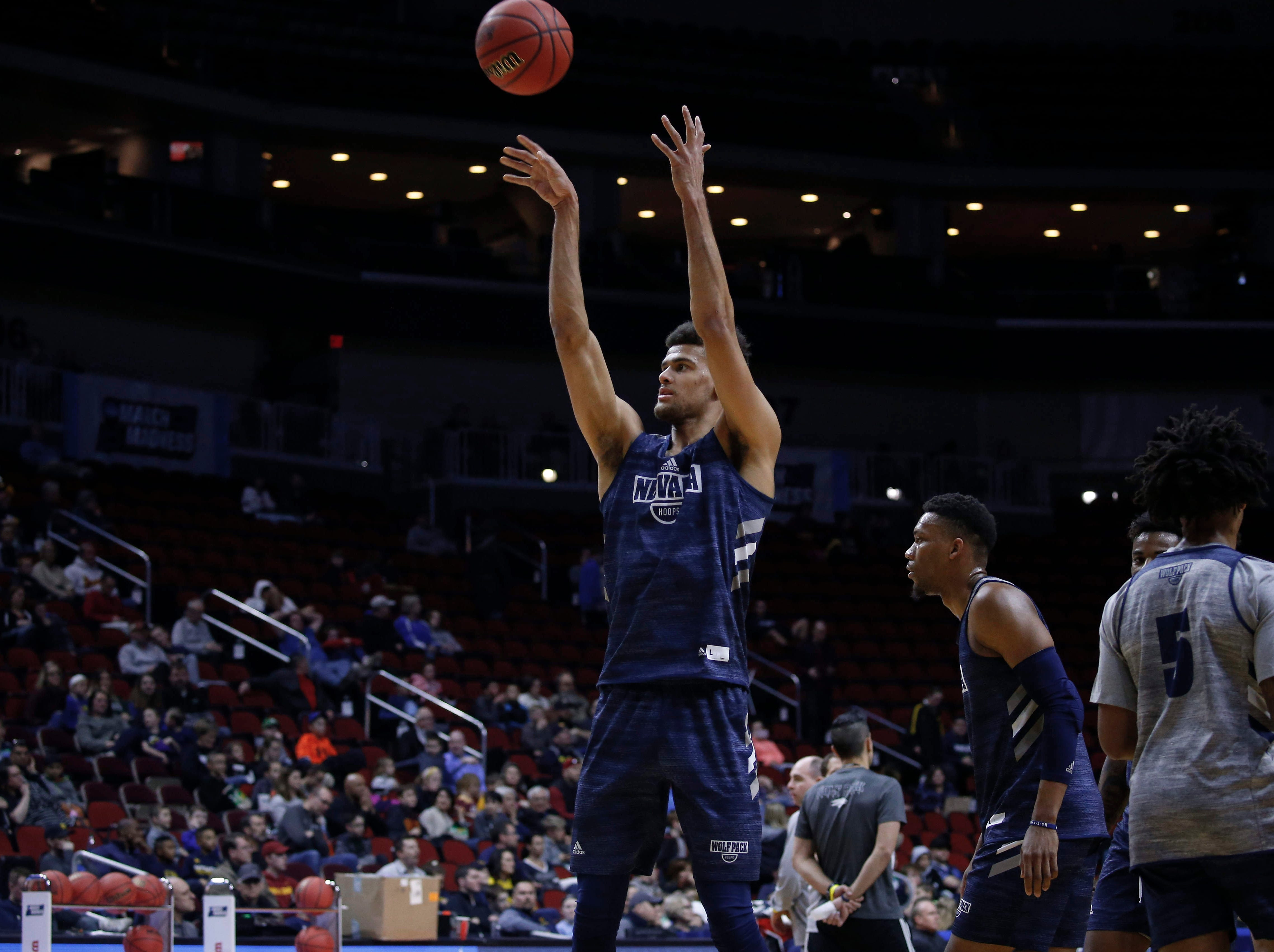 Nevada freshman Trey Porter shoots the ball during open practice on Wednesday, March 20, 2019, at Wells Fargo Arena in Des Moines, Iowa.