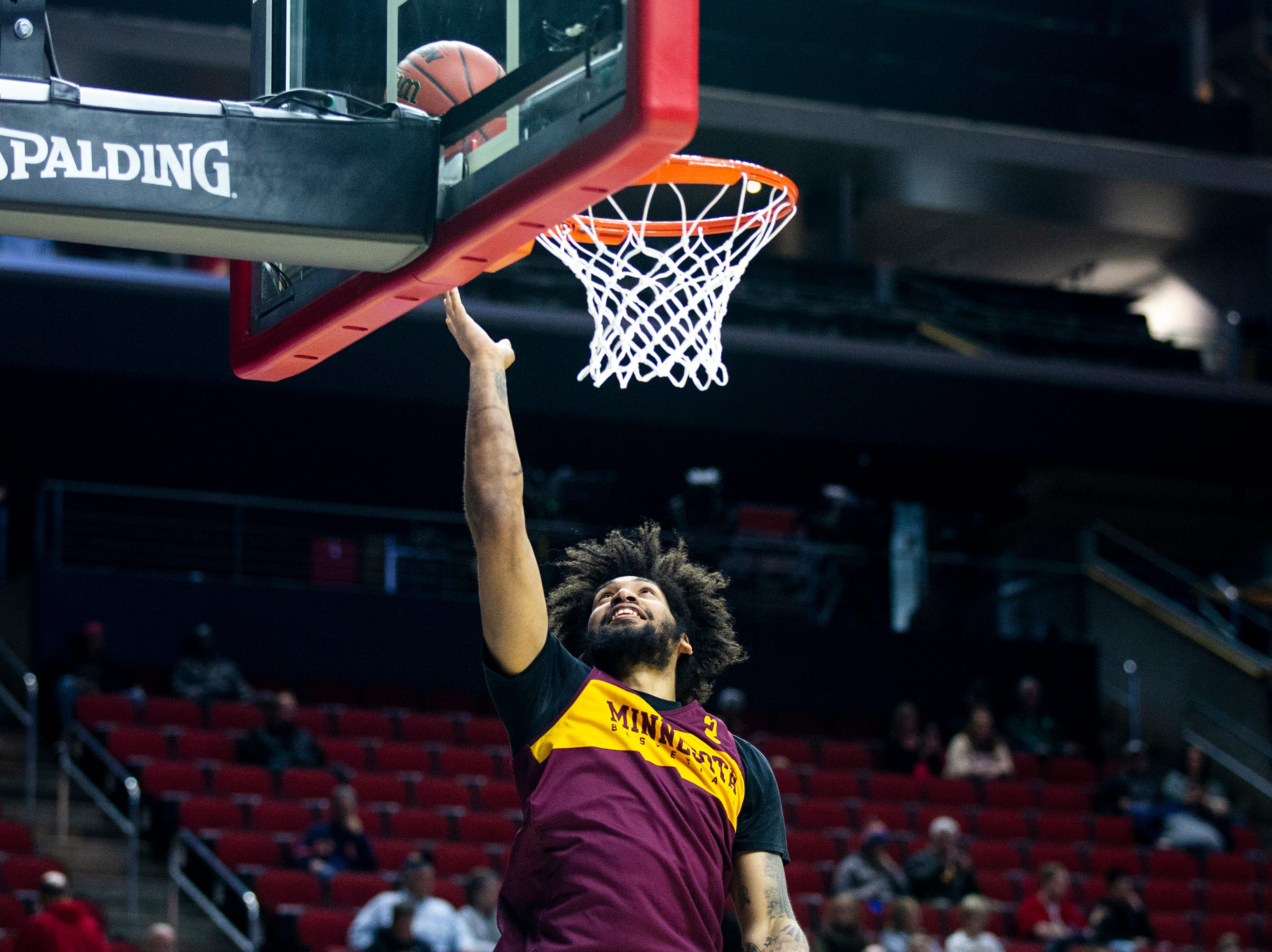 Minnesota's Jordan Murphy shoots the ball during Minnesota's open practice before the first round of the NCAA Men's Basketball Tournament on Wednesday, March 20, 2019, at Wells Fargo Arena in Des Moines, Iowa. Minnesota will face Louisville in the first round on Thursday.