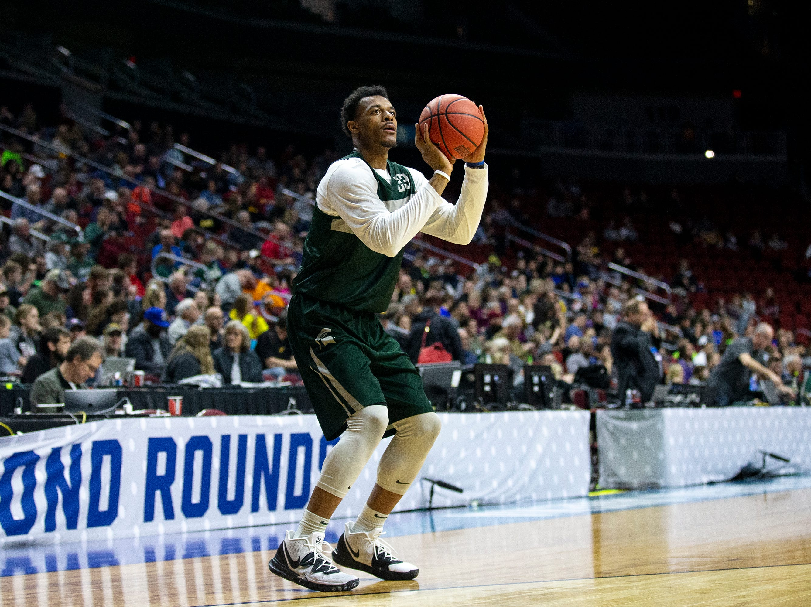 Michigan State's Xavier Tillman shoots the ball during Michigan State's open practice before the first round of the NCAA Men's Basketball Tournament on Wednesday, March 20, 2019, at Wells Fargo Arena in Des Moines, Iowa.