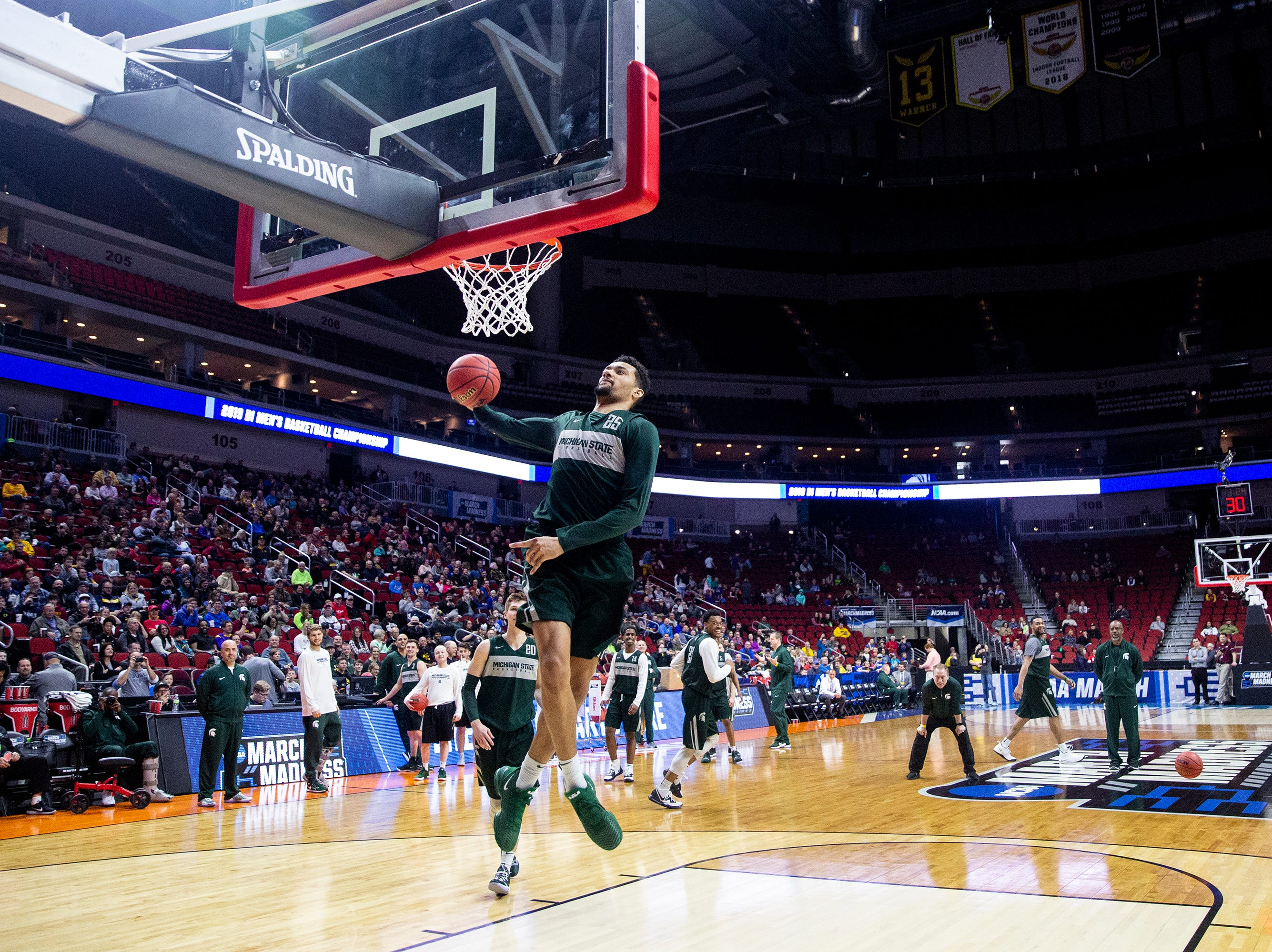 Michigan State's Kenny Goins shoots the ball during Michigan State's open practice before the first round of the NCAA Men's Basketball Tournament on Wednesday, March 20, 2019, at Wells Fargo Arena in Des Moines, Iowa.