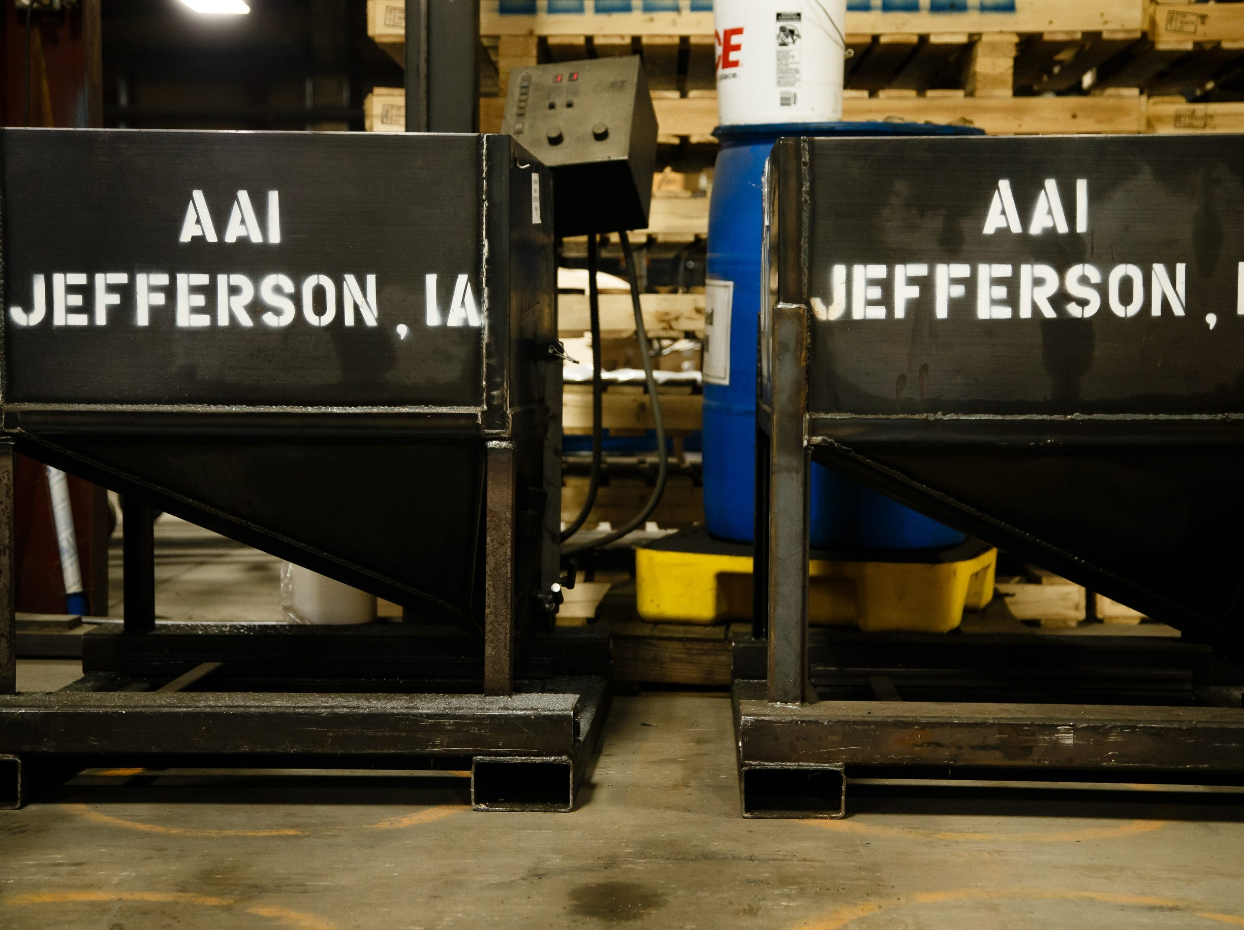 Hoppers sit ready for work at AAI's facility in Jefferson on Wednesday, March 13, 2019. AAI is the official supplier of basketball back stops for NBA, NCAA, WNBA and the NBA G-League. They make all their products, as well as a full line of gymnastics and tumbling equipment out of this factory in Jefferson where they were founded.