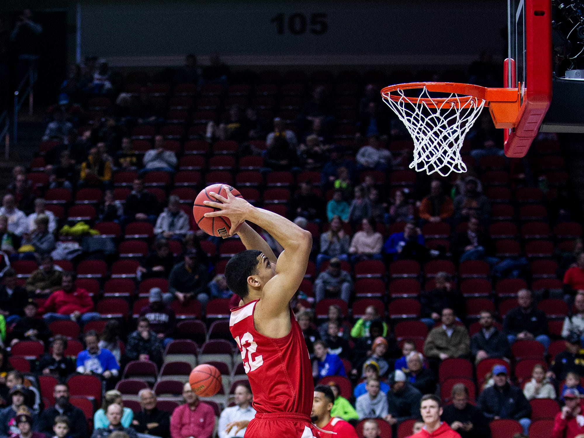 Bradley's Ja'Shon Henry shoots the ball during Bradley's open practice before the first round of the NCAA Men's Basketball Tournament on Wednesday, March 20, 2019, at Wells Fargo Arena in Des Moines, Iowa.