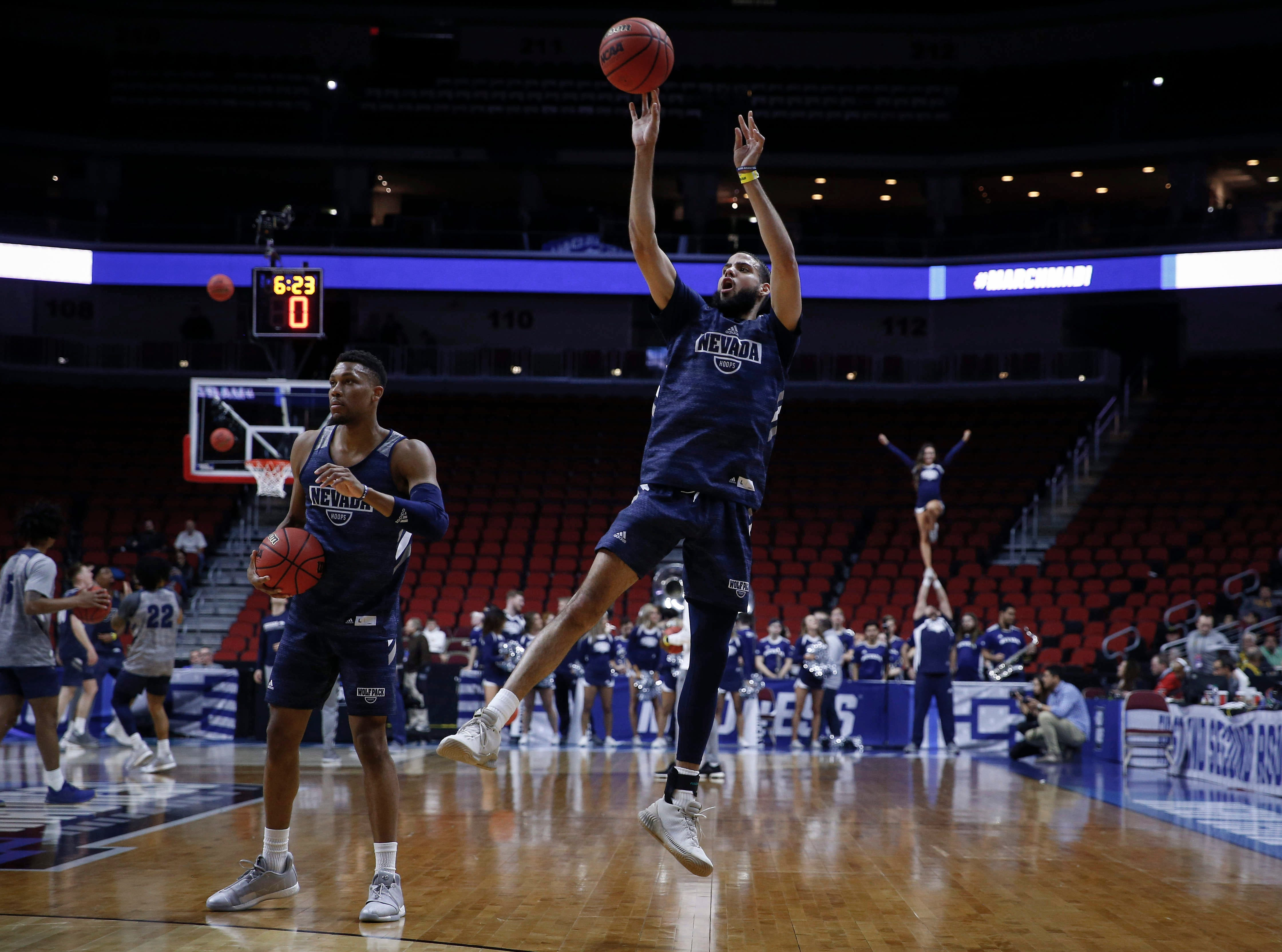 Nevada senior Cody Martin fires an off balance shot during open practice on Wednesday, March 20, 2019, at Wells Fargo Arena in Des Moines, Iowa.
