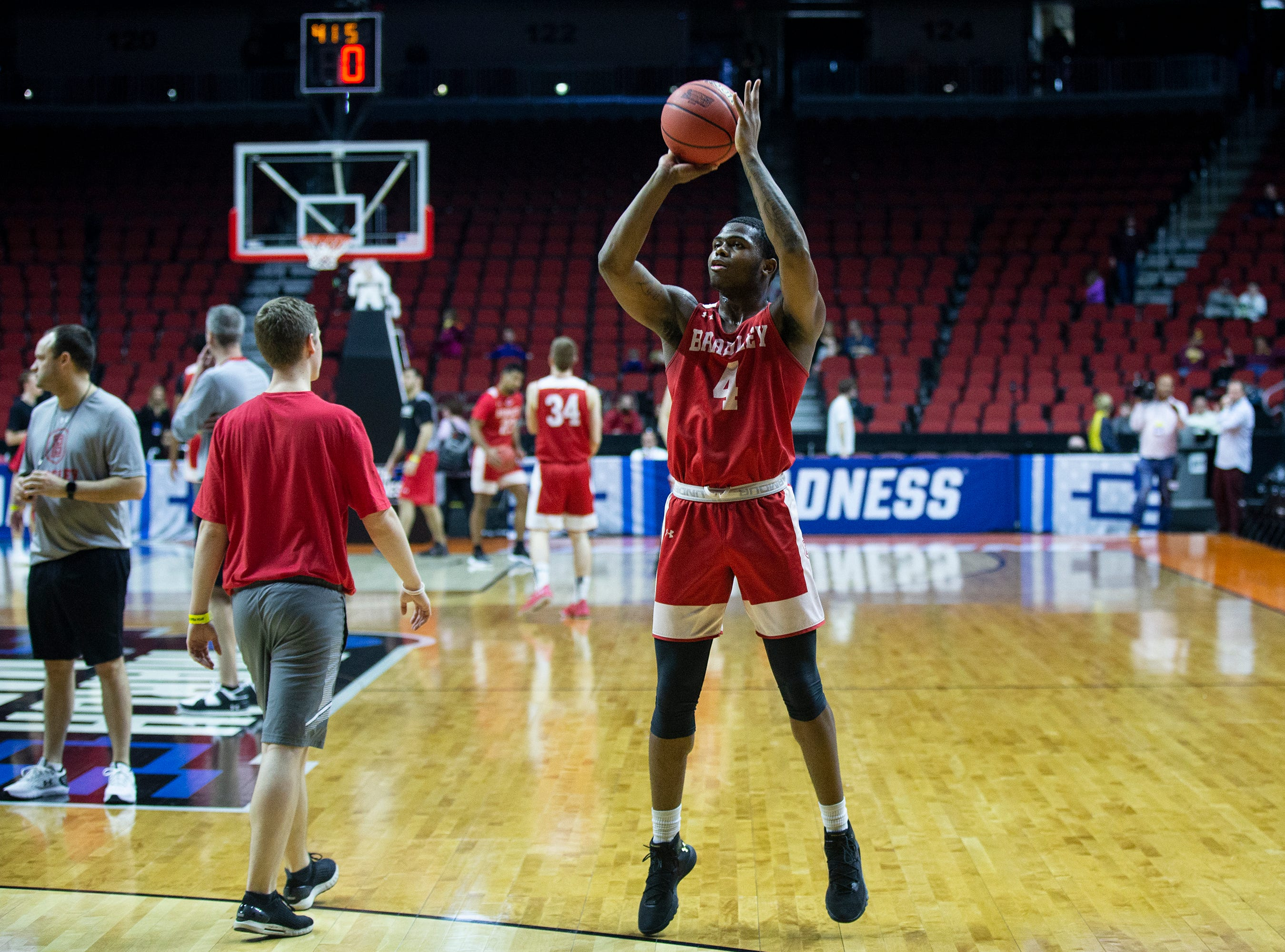 Bradley's Armon Brummett shoots the ball during Bradley's open practice before the first round of the NCAA Men's Basketball Tournament on Wednesday, March 20, 2019, at Wells Fargo Arena in Des Moines, Iowa.