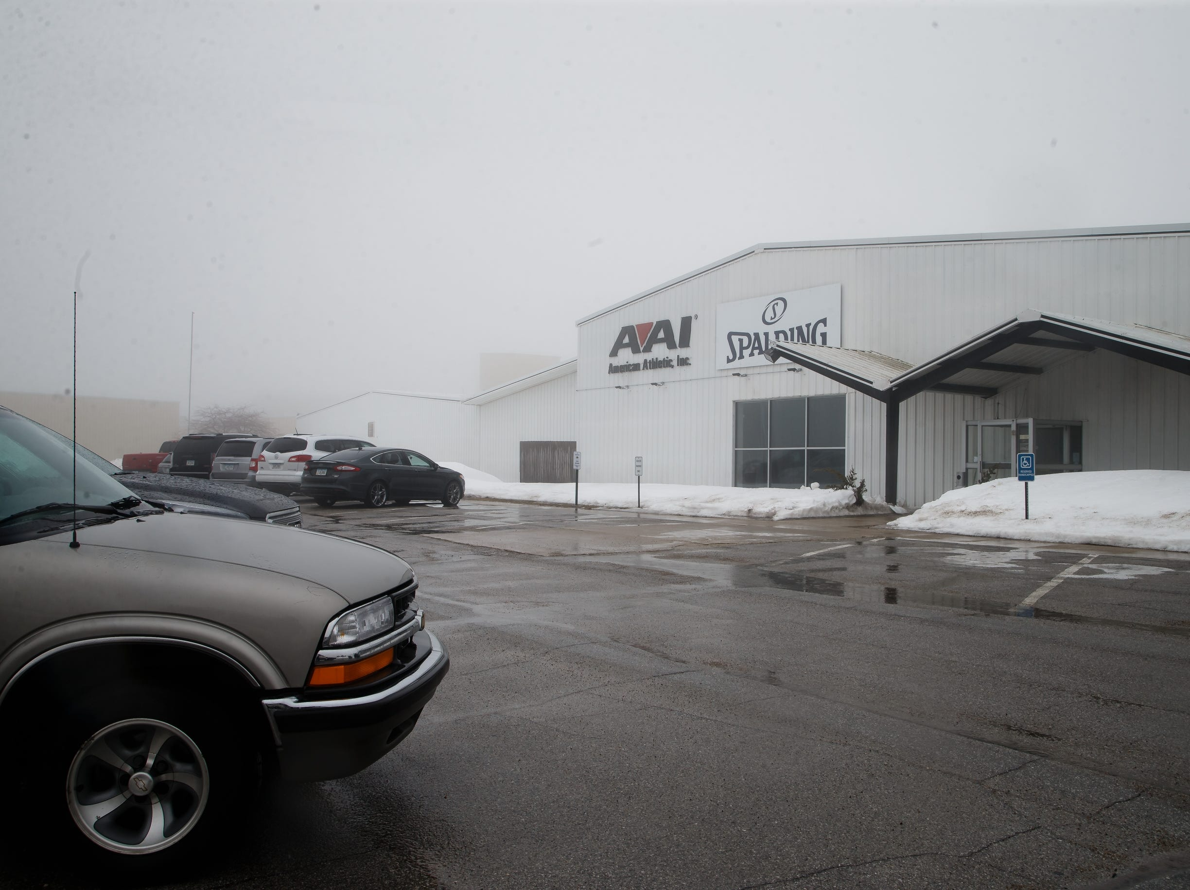 The AAI facility is seen through the fog on Wednesday, March 13, 2019 in Jefferson. AAI is the official supplier of basketball back stops for NBA, NCAA, WNBA and the NBA G-League. They make all their products, as well as a full line of gymnastics and tumbling equipment out of this factory in Jefferson where they were founded.