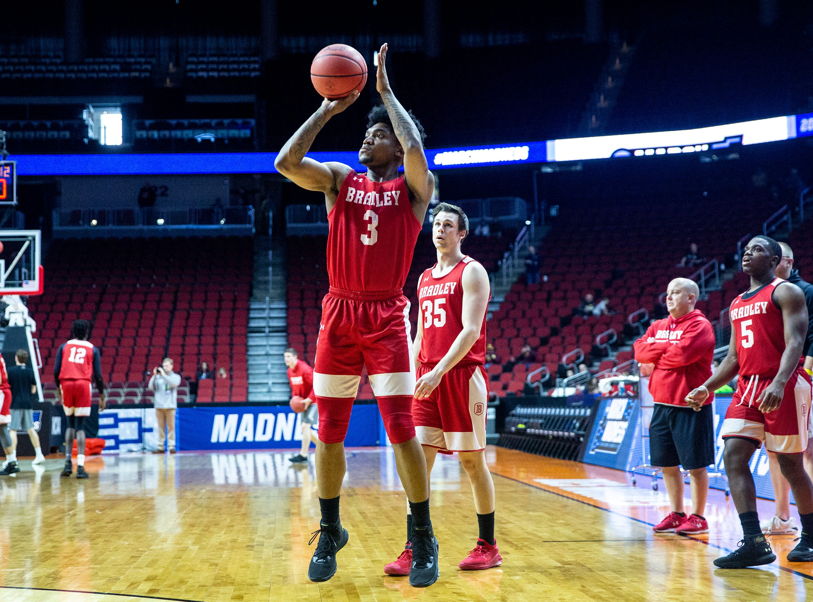 Bradley's Antoine Pittman  shoots the ball during Bradley's open practice before the first round of the NCAA Men's Basketball Tournament on Wednesday, March 20, 2019, at Wells Fargo Arena in Des Moines, Iowa.