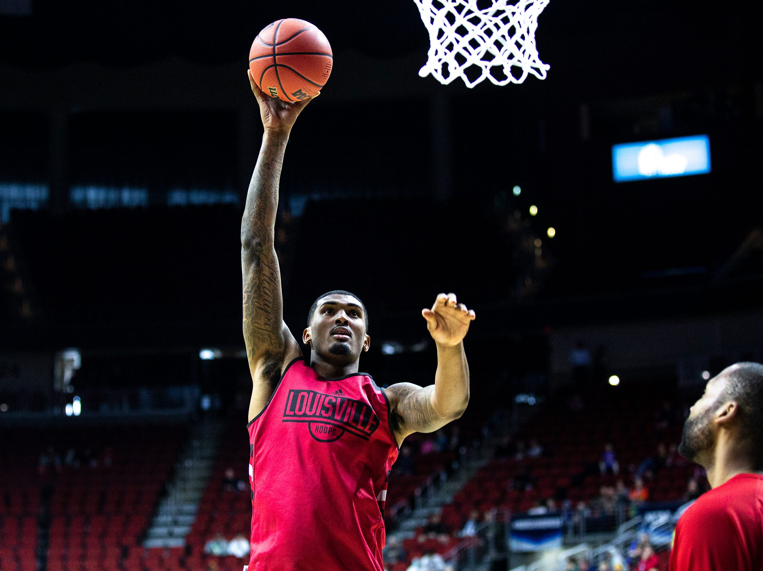 Louisville's Malik Williams shoots the ball during Louisville's open practice before the first round of the NCAA Men's Basketball Tournament on Wednesday, March 20, 2019, at Wells Fargo Arena in Des Moines, Iowa.