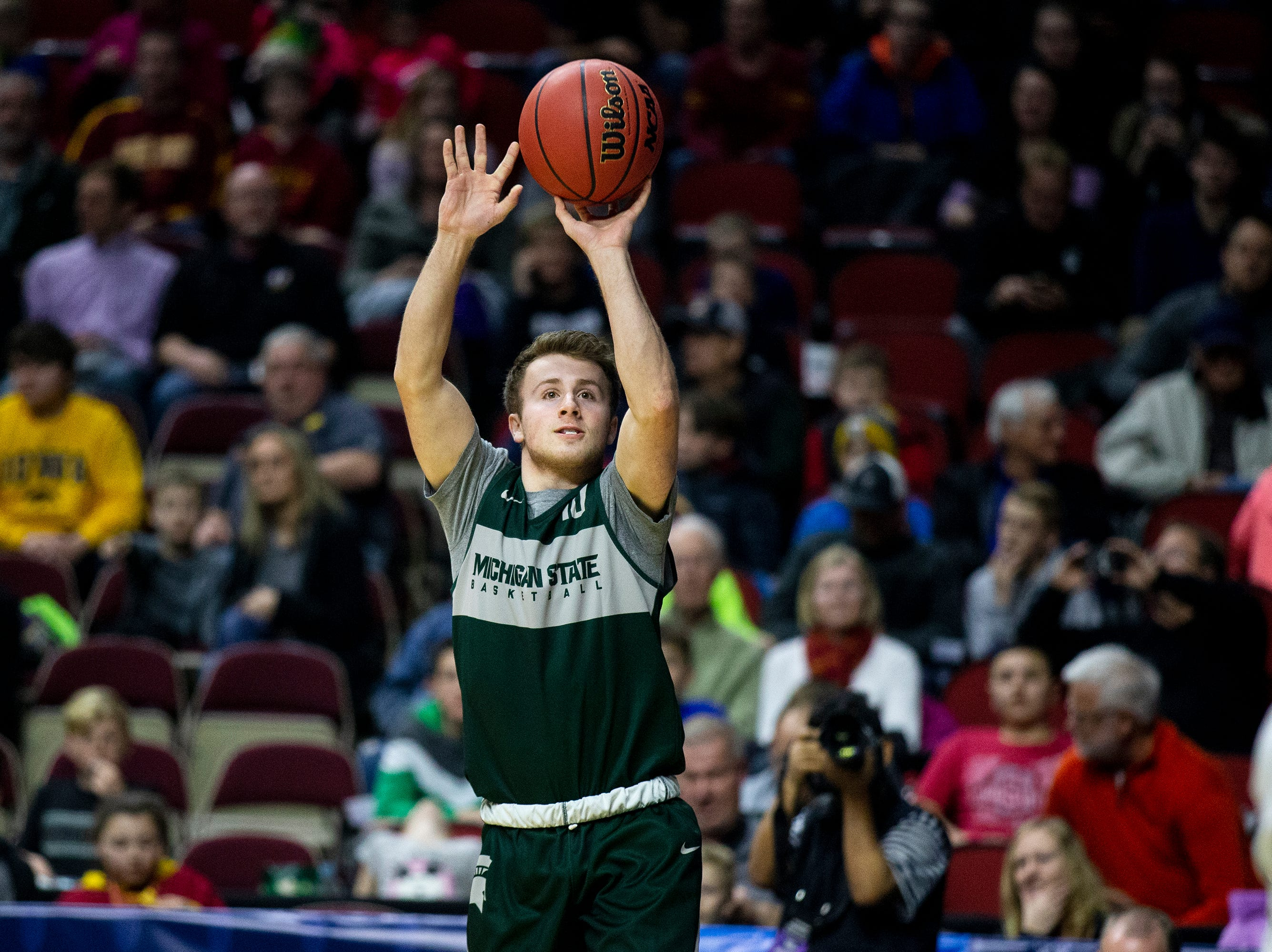 Michigan State's Jack Hoiberg shoots the ball during Michigan State's open practice before the first round of the NCAA Men's Basketball Tournament on Wednesday, March 20, 2019, at Wells Fargo Arena in Des Moines, Iowa.