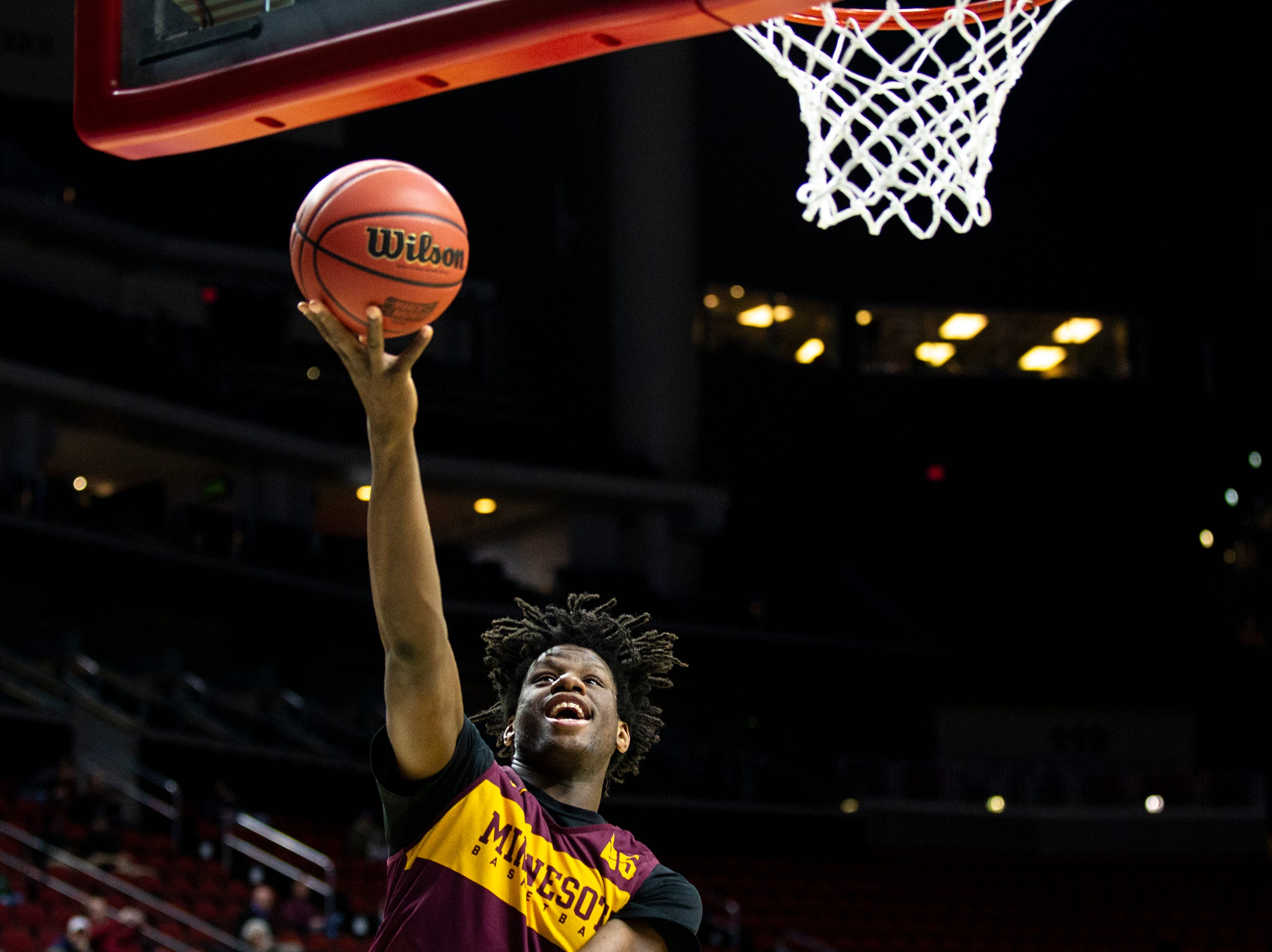 Minnesota's Daniel Oturu shoots the ball during Minnesota's open practice before the first round of the NCAA Men's Basketball Tournament on Wednesday, March 20, 2019, at Wells Fargo Arena in Des Moines, Iowa. Minnesota will face Louisville in the first round on Thursday.